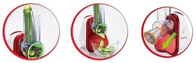 como funciona el cortador de verduras de la marca moulinex