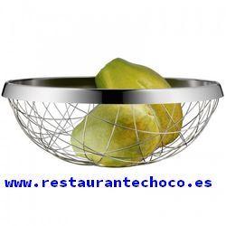 Relaxdays 10030056 Frutero Redondo de Metal 9 x 22,5 cm Color Plateado Acero